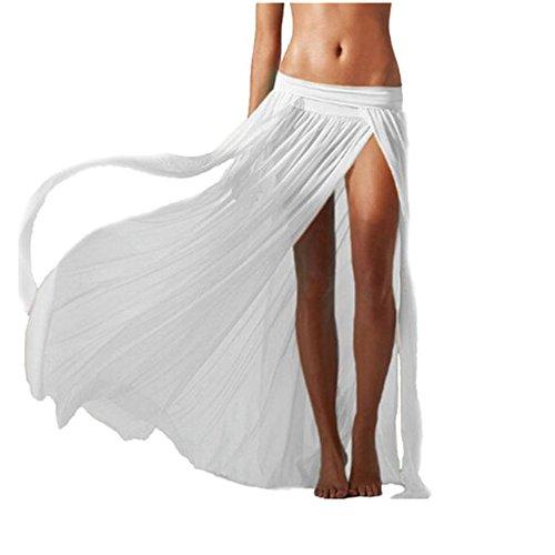 Hosaire plage Femme pour Jupe longue manches sans plage Blanc Robe gSgrZx4qw