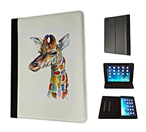 986 - cool fun cute colourful giraffe love animal nature Design Apple ipad Air 1 - 2013 Fashion Trend TPU Leather Flip Case Protective Purse Pouch Book Style Defender Stand Cover