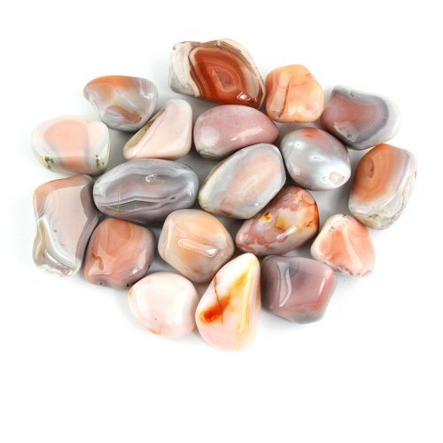 Crystal Allies Materials: 1/2lb Bulk Tumbled Pink Botswana Agate Quartz Stones from South Africa - Large 1