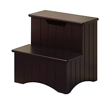 Superb Kings Brand Dark Cherry Finish Wood Bedroom Step Stool With Storage