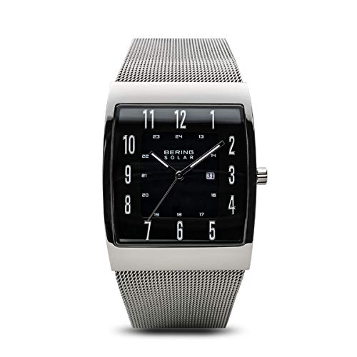 BERING Time 16433-002 Solar Collection Slim Watch with Mesh Strap and Scratch Resistant Sapphire Crystal. Designed in Denmark.