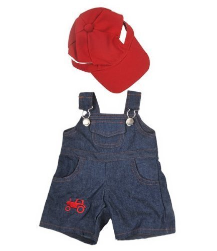 FARMER TEDDY BEAR OUTFIT WITH CAP AND T-SHIRT CLOTHES TO FIT 15
