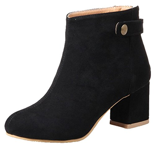 Toe Mid Black Ankle Women's Frosted Trendy Easemax Round Boots Buckle Chunky Heel Zipper gApqqw
