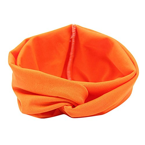 Headbands,Ladies Cross Sport Yoga Hair Band Casual Head Hoop Turban Hair Accessories (Orange)