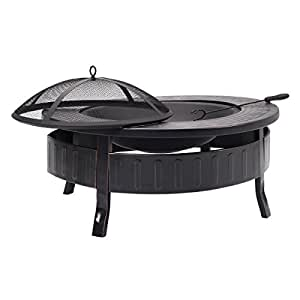 Round Metal Firepit Patio Garden Stove Fire Pit Outdoor Brazier With Poker 32""