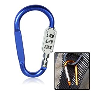 Convenient and Reliable Small Resettable Combinative D Shape Carbine Clip-On Clamp Key Chain Hook with Padlock Password Buckle, Locks Securely with Anti-Thief Padlock