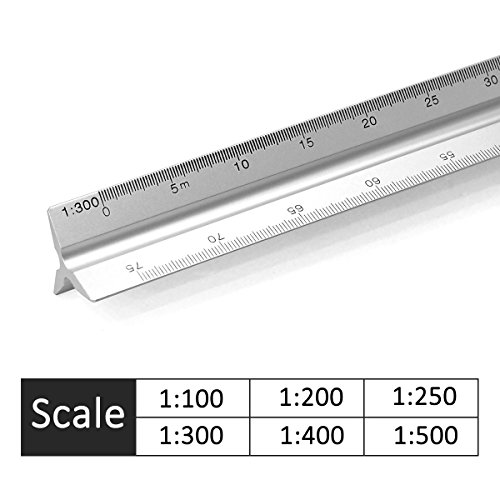 Aluminum Triangular Metric Architect Scale Ruler 1:100, 1:200, 1:250, 1:300, 1:400, 1:500 (30CM 12)