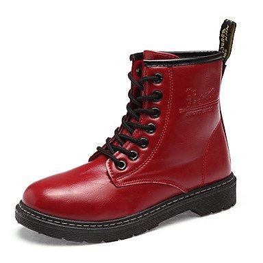 Botas Negro Botas Fashion Tacón De Rojo Botas Comodidad Up Otoño Planas Calf Casual US8 RTRY UK6 Pu Primavera CN39 Zapatos Para EU39 Mujer Lace Redonda De Puntera Blanco Mid 5gxOqnw0Pz