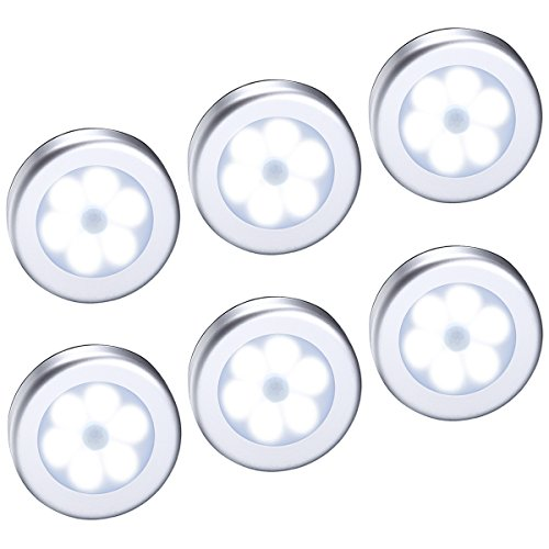 AMIR Motion Sensor Light, Cordless Battery-Powered LED Night Light, Stick-anywhere Closet Lights Stair Lights, Puck Lights, Safe Lights for Hallway, Bathroom, Bedroom, Kitchen, etc.(White - Pack of 6) - Indoor Ceiling Light Fixture