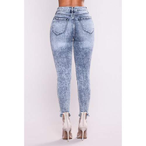 Aderenti color 1 L 2 Lunghi Junfelicia Jeans Style Size Strappati Pantaloni Skinny xwZnnIOT