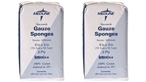 Medline NON25408H Woven Non-Sterile Gauze Sponges, 4''x4'' (Pack of 400) by  Medline