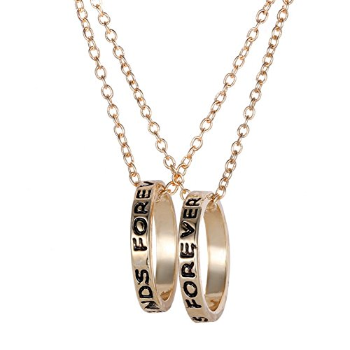 2 Pcs Best Friends Forever Engraved Ring Pendant Charm Necklace - 3 Of Friend Set Best Necklaces