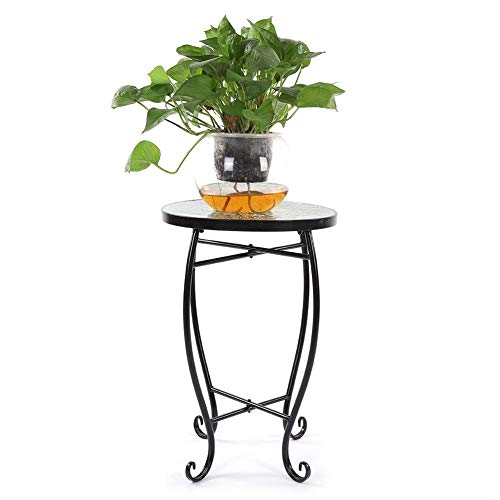 Tall Plant Stand Art Flower Holder, Vanity Mosaic Painted Glass Iron Art Plant Stand Round Side Accent Table for Home Office Indoor Outdoor Decor Green