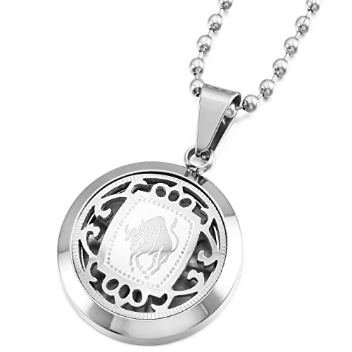 Memediy Silver Tone Stainless Steel Pendant Necklace Taurus Horoscope Zodiac  Come With Chain   Customized Engraving