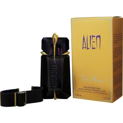 Scented Perfume Alien (Thierry Mugler Eau de Parfum Spray Refillable and Leather Bracelet for Women, Alien, 2 Ounce)