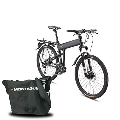 Montague Paratrooper Pro 27 Speed Folding Mountain Bike, Folding Bicycles for Adults with Free Brand Carry Case and Outdoors Eqiupment Guide Book-18 Matte Black