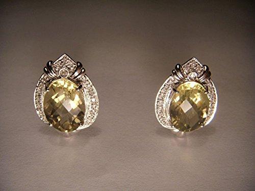 Estate Pave Earrings - Fabulous Estate 14K White Gold Lemon Quartz Pave Diamond Earrings