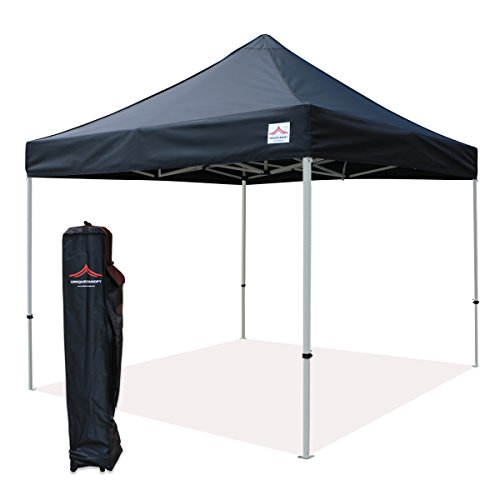 UNIQUECANOPY 10 x10 Ez Pop Up Canopy Tent Commercial Instant Shelter, with Heavy Duty Roller Bag, 10×10 FT Black