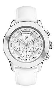Marc Ecko E20070G1 - Reloj analógico de cuarzo para hombre, correa de cuero color blanco