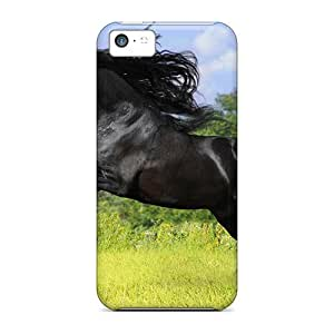 Iphone 5c Hard Back With Bumper Cases Covers Running Black Horse
