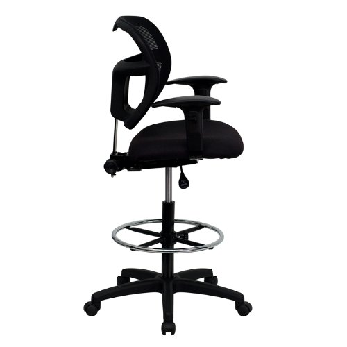 Mid-Back Mesh Drafting Stool with Black Fabric Seat and Arms [WL-A7671SYG-BK-AD-GG]