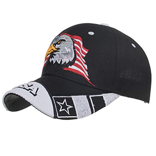 Haluoo American Flag Baseball Cap, USA Flag Eagle Embroidered Baseball Hat Unisex Cotton Twill Stars & Stripes Patriotic Ball Cap Hat Adjustable Dad Hat Trucker Hat Sun Hat (Black)