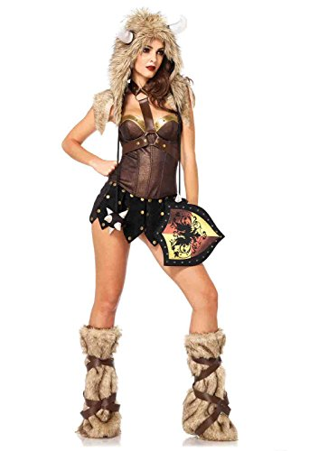 [Viking Furry Hood With Flail Ties Bundle with Rave Shorts] (Viking Outfits For Adults)