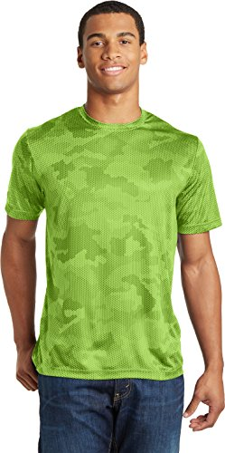 Sport-Tek Men's Moisture Wicking CamoHex Tee Shirt_Lime Shock_Medium