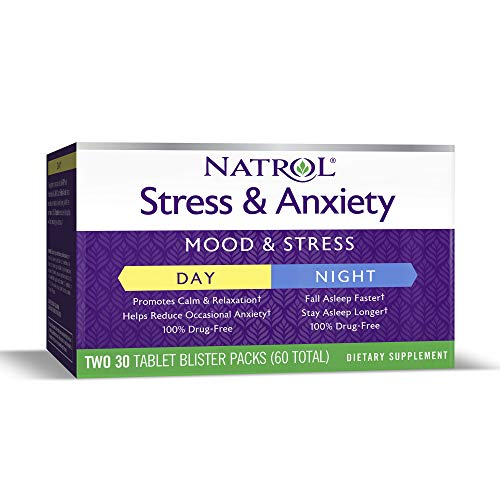 Natrol Stress and Anxiety - Day and Night Tablets, Promotes a Calm Mood in the Day, Helps you Fall Asleep Faster, Stay Asleep Longer at Night, 50mg of 5-HTP, 50mg of L-Theanine, 60 Count (30 Each)