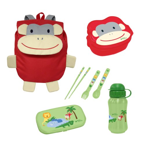 green sprouts Safari Friends Travel Lunch Set, Red Monkey, 12 Months