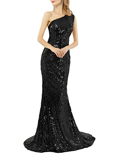 Favors Women's One Shoulder Sequins Long Prom Mermaid Evening Dress Black B 12