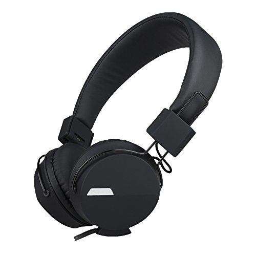 Kanen I39 Headphones On ear Foldable Noise Isolating Headsets with Mic and Remote for Kids Adults (Black)