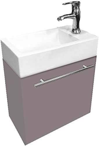 Bathroom Vanity 18 Wood Cashmere Grey with White Ceramic Sink Combo