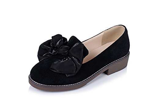 Women's Round Toe Square Heel Korean Casual Shoes with Buckle Black - 6