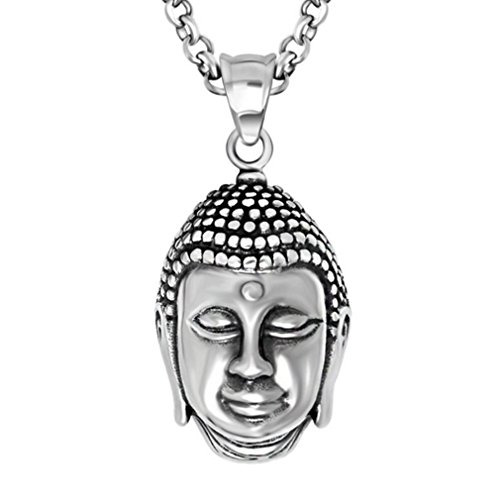[W-Q Mens Cool Personality Lucky Buddhism Buddha Pendant Titanium Steel Necklace Sautoir Halloween Jewelry(28