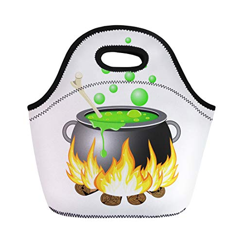 Semtomn Lunch Bags Bowl Black Autumn Halloween Cauldron Green Boiler Brew Bright Neoprene Lunch Bag Lunchbox Tote Bag Portable Picnic Bag Cooler Bag ()