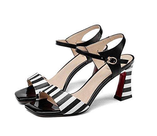 Gruesos Cuero América Alto Negro Europa Zapatos Genuino Romanos Cuero Mujer de Tacón de de de Zapatos de Zapatos Zapatos Mujer y de qaFa4A
