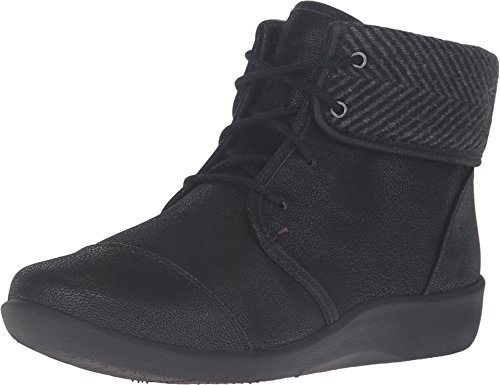 CLARKS Women's Sillian Frey Boot, Black Synthetic Nubuck, 8 M - Women Shoes Boots For Clark