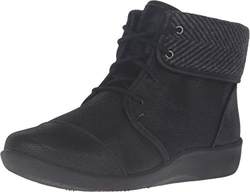 CLARKS Women's Sillian Frey Boot, Black Synthetic Nubuck, 7 M US