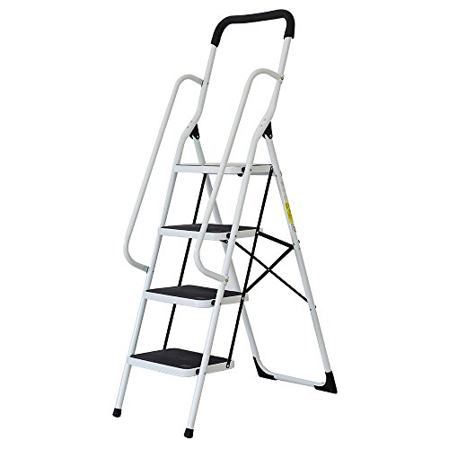 Livebest Iron Folding 4 Steps Ladder Step Stool with Hand Grip 300Lbs Load Capacity