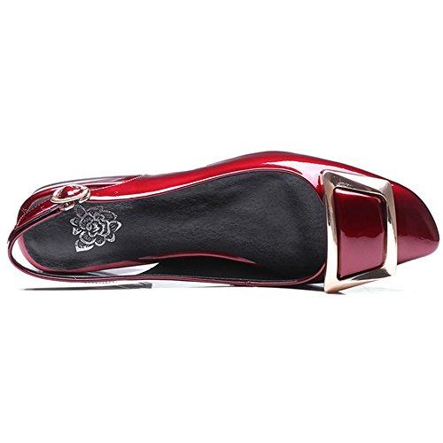 Nine Seven Cuero Puntera Cuadrada Sandalias de Vestir de Tacón Grueso con la Hebilla para Mujer Rojo