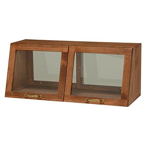 カウンター上ガラスケース ( キッチン収納 スパイスラック ) 木製 幅60cm×高さ25cm ブラウン 取っ手 引き戸付き 【デザインファニチャー】 B01LXV08DM 幅60cm 高さ25cm|ブラウン ブラウン 幅60cm 高さ25cm
