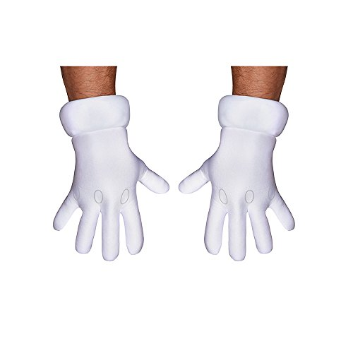 Disguise Men's Nintendo Super Mario Brothers Adult Gloves Costume Accessory, White, One (Cartoon Gloves)