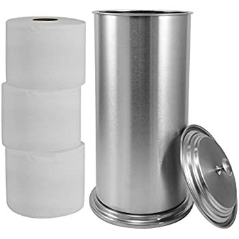 LDR 164 6466BN Freestanding Extra Toilet Paper Canister For Single Double  And Extra Large Rolls Brushed