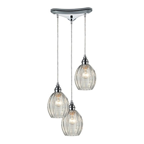 Elk Lighting Danica 3-light Pendant, Polished Chrome Laurel Pendant Lighting