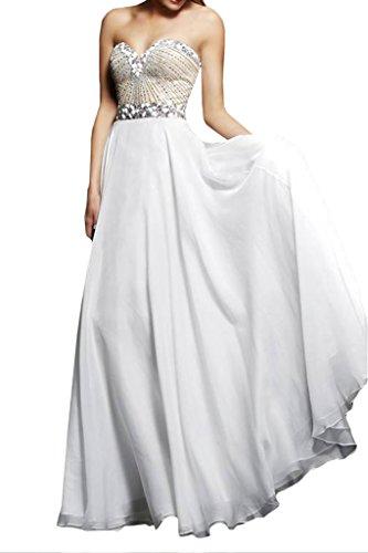 ivyd ressing Mujer Corazón de recorte brillantes a de línea fijo Ropa Prom vestido para vestido de noche Weiß