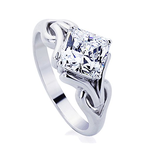 Double Accent RN Z50 Sterling Silver 2ct Cushion Cut CZ Celtic Design Wed