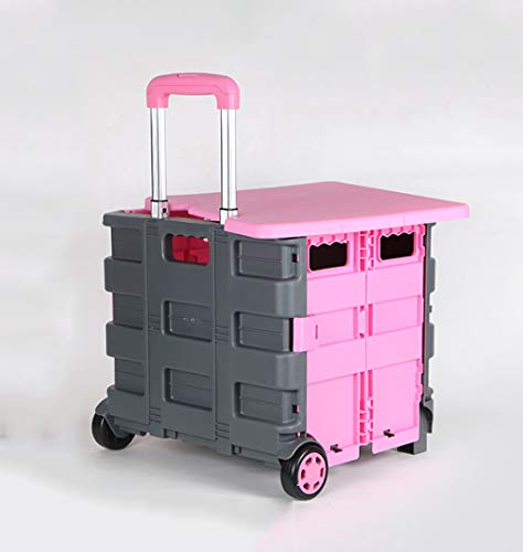 ing Supermarket Shopping cart Shopping cart Portable Trolley car Luggage Push Storage Box Storage Box (Color : Pink) ()
