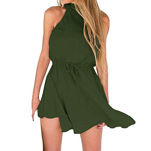 Women's Chic Sleeveless Backless Halter Floral Print Split Maxi Dress,Londony❤ Boho Backless Floral Beach Sexy Dress Green ()