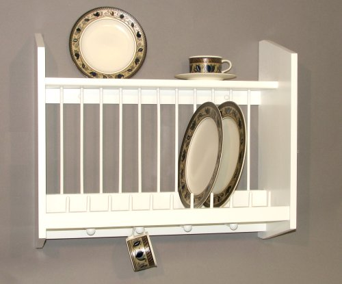 Plate Rack with Shelf, White MADE IN USA by Woodform